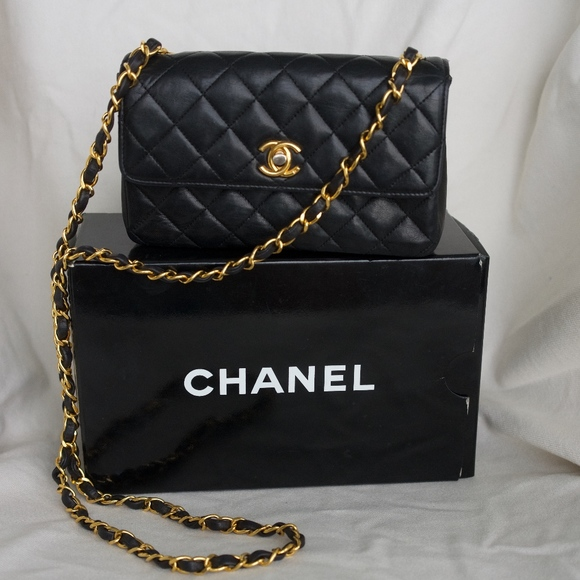 62ade60d7830 CHANEL Bags | Genuine Early 90s Black Lamb Skin Mini Bag | Poshmark